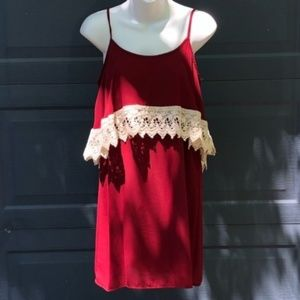 Peach Love California | Maroon Ivory Crochet Dress